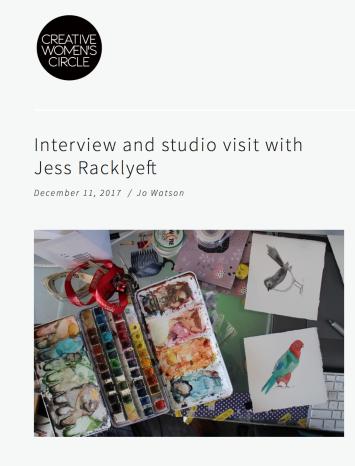 Creative Women's Circle - https://www.creativewomenscircle.com.au/creative-womens-circle/interview-and-studio-visit-with-jess-racklyeft